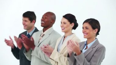Business team in line applauding — Stock Video