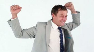 Happy businessman raising his fists in success — Stock Video