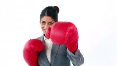 Smiling secretary using boxing gloves — Stock Video