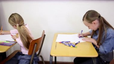 Pupils writing on their notebooks — Stock Video