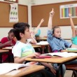 Stock Video: Smiling pupils raising their arms