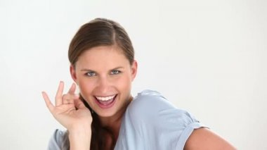 Seductive woman sending a kiss — Stock Video
