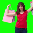 Woman raising shopping bags — Stock Video