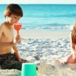 Siblings building sand castles — Stock Video #21617925