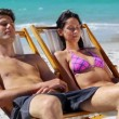 Stockvideo: Smiling couple resting