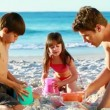 Smiling family building sand castles — Stock Video