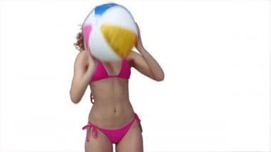 Woman happily playing beachball — Stock Video