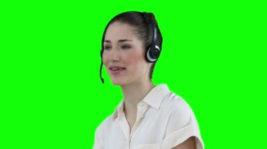 Woman talking while wearing a headset — Stock Video