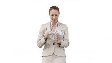 Business woman shaking a fan of cash — Stock Video