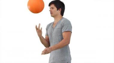 Man practising spinning a basketball — Stock Video