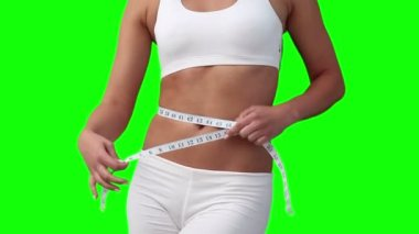 Woman measuring her waistline — Stock Video