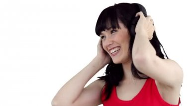 Close up of a woman swaying as she listens to music — Stock Video