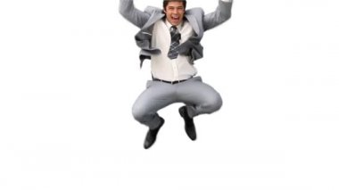 Business man jumping up and down in joy — Stock Video