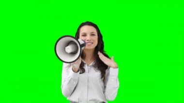 A woman talks on a megaphone — Stock Video