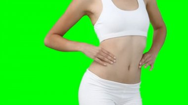 Un close up di una donna stringendo i fianchi — Video Stock