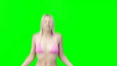 A woman in a bikini skipping — Stock Video