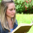 Happy blonde woman reading a novel - Stock Photo