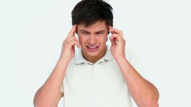 Man with big headache — Stock Video
