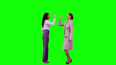 Colleagues in slow motion giving high-five — Stock Video