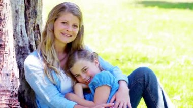 Mother hugging her daughter — Stock Video