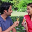 Stock Video: Happy couple clinking their glasses of white wine