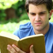 Smiling man reading a fascinating book - Stock Photo