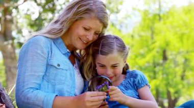 Mother and daughter using a magnifying glass — Stock Video