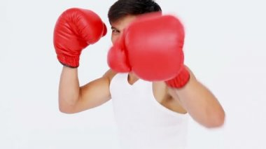 Man boxing with red gloves — Stock Video