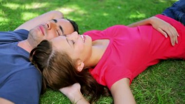 Peaceful couple lying on the grass while napping — Stock Video