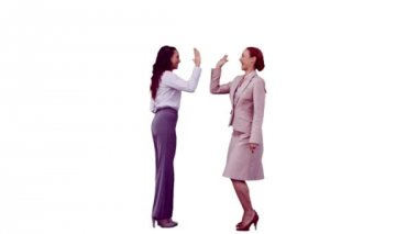 Businesswomen in slow motion giving high-five — Stock Video