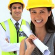 Business wearing safety helmet — Vídeo de stock