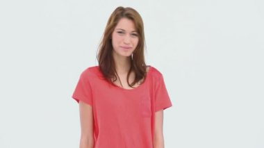 Smiling brunette haired woman standing — Stock Video