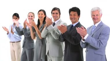 Multicultural team applauding — Stock Video