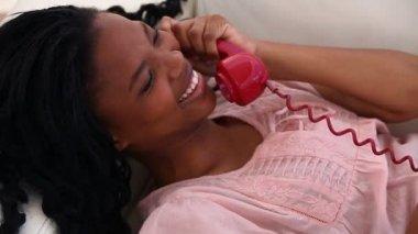 Happy brunette woman calling — Stock Video