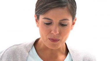 Woman eating fruit salad — Stock Video