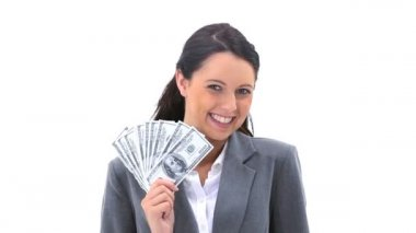 Businesswoman holding American banknotes is smiling — Stock Video