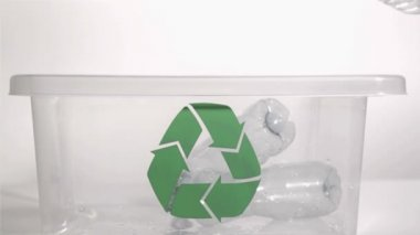 Plastic bottles throw in super slow motion — Stock Video