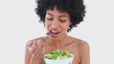 Black haired woman eating salad — Stock Video