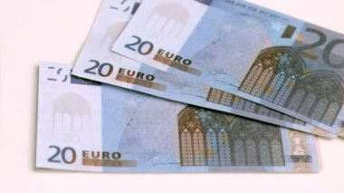 European banknotes being blown in super slow motion — Stock Video