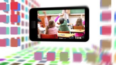 Animation of a school life on a smartphone screen