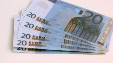Twenty euros banknotes spread in super slow motion — Stock Video