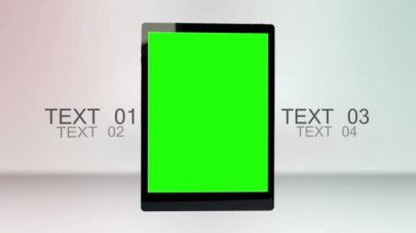 Tablet computer with chroma key screen and text space — Stock Video