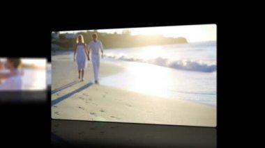 Videor av ett par vid solnedgången — Stockvideo