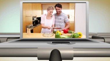 Par matlagning tillsammans i köket — Stockvideo
