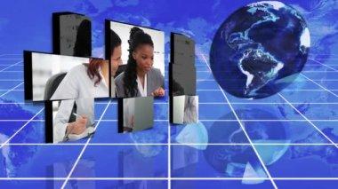 Video's van een multinationale onderneming met een afbeelding van de aarde hoffelijkheid van nasa.org — Stockvideo