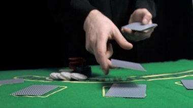 Man dealing the cards in slow motion — Stock Video