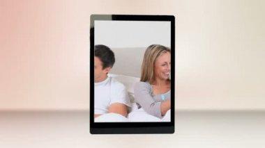 Family life in bedroom — Stock Video