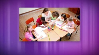 Animation with videos of school life against purple background
