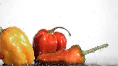 Vegetables in super slow motion being soaked — Stock Video
