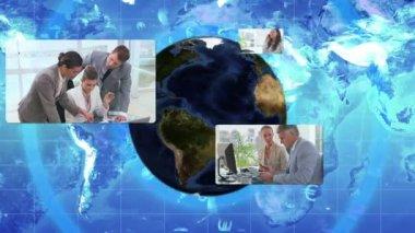 Videos corporativos multinacionales con una imagen de tierra cedida por nasa.org — Vídeo de Stock